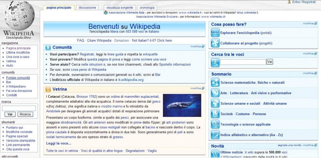 Homepage di Wikipedia