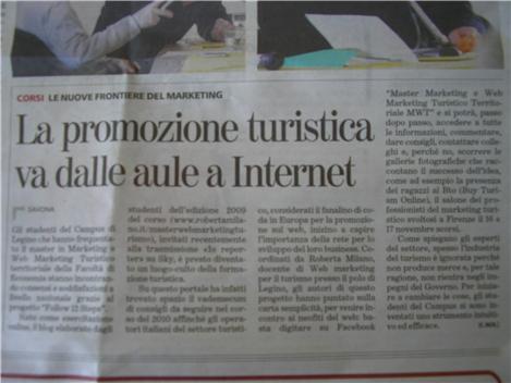 Articolo scritto su La Stampa riguardo il master in marketing e web marketing del turismo di Savona, che sto frequentando