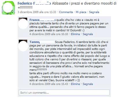 Commento negativo Pagina Facebook