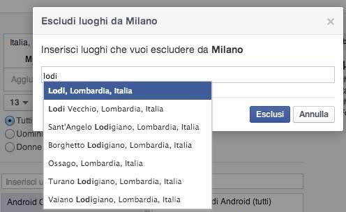 Esclusione dei luoghi advertising Facebook