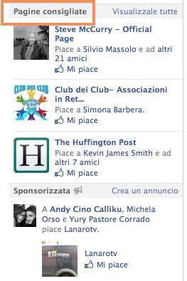 Mi piace pagine Facebook