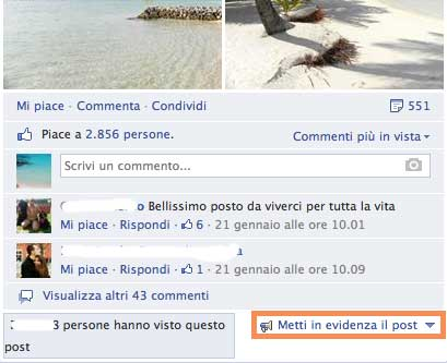 Post facebook in evidenza