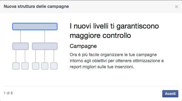 Nuova struttura campagne facebook