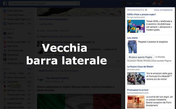 Vecchia barra laterale facebook