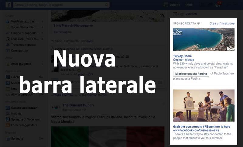 Nuova colonna destra facebook