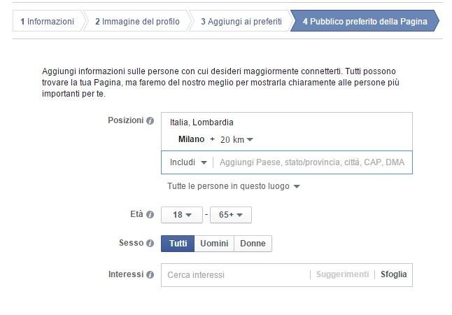 Limitazioni pagina facebook
